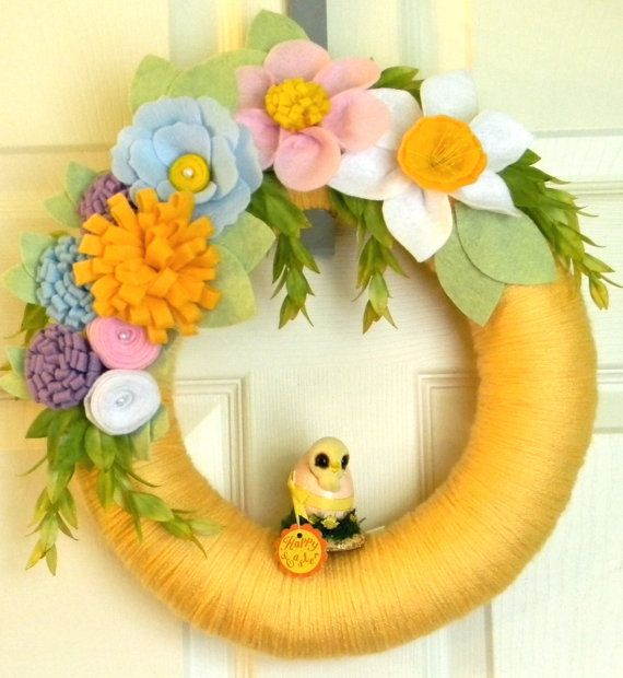 Just Hatched Vintage Chick- Easter Wreath : 12 inch Felt and Yarn Wreath OOAK-Only One on Etsy, $42.00