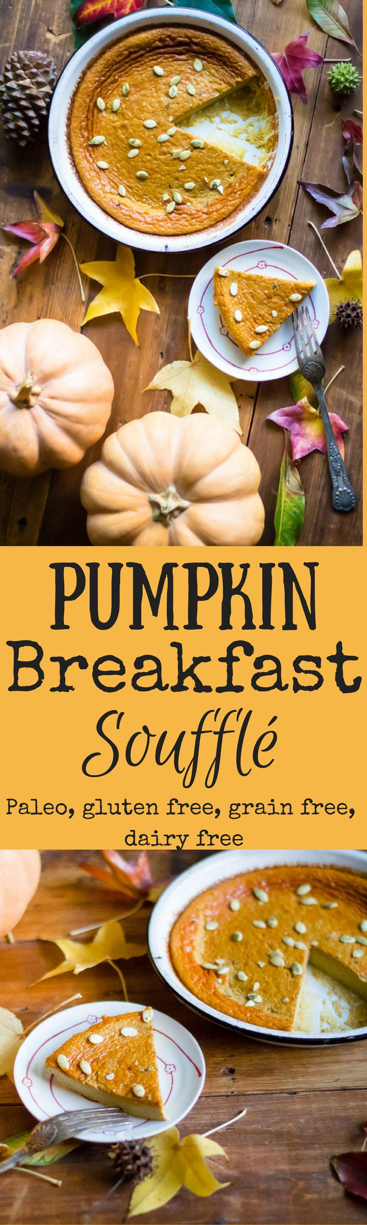 Pumpkin takes center stage for many amazing fall desserts, but it can also be a part of healthy start to your day at the breakfast table. This Pumpkin Breakfast Soufflé is an easy, delicious and nourishing recipe that will have you feeling all the yummy fall feels first thing in the morning. Paleo, gluten free, dairy free, grain free