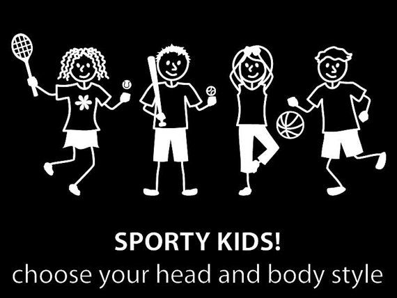 Sporty Kids Car decals. Choose the head and body style! Lots to choose from!