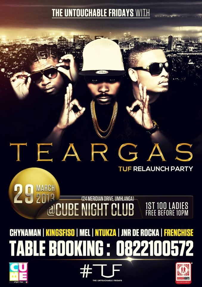 29  March - MTV Base is taking over the KZN! We rocked The Cube lastnight & we're doing it again! Catch TEARGAS performing live tonight at The Cube!