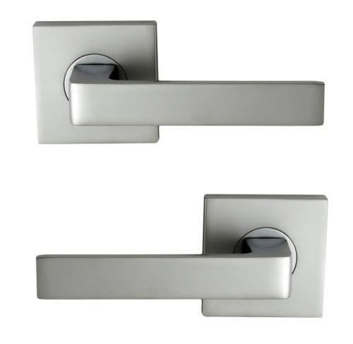$56  Nidus-Door-Handle-Mediterranean-Turin-Square-Passage-Lever-Set-Satin-Chrome