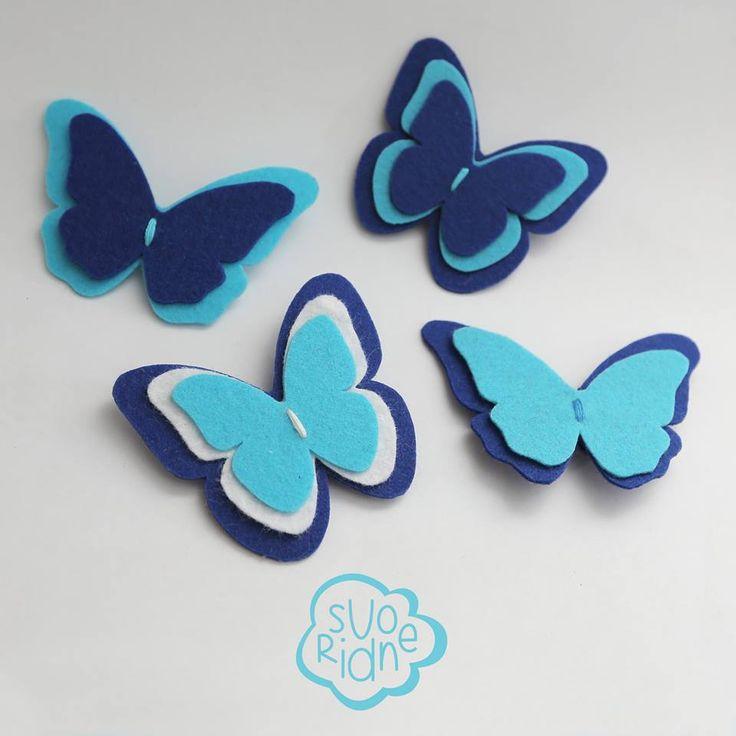 Felt brooch butterfly blue, брошь из фетра бабочка