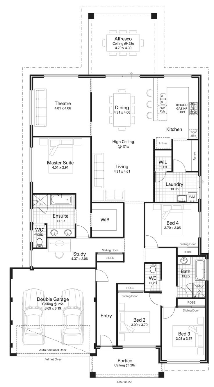 Here's a 4 bedroom family home with bedrooms at the front and the living on the back. I like how the master is set back a bit though. The study is almost combined with the master isn't it? What do you think about that idea? I love the u-shape kitchen on the back. It would be …