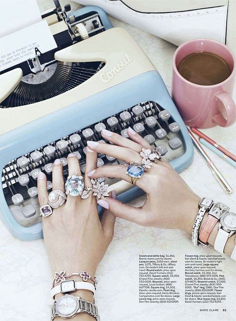 .: Fashion, Cocktails Rings, Style, Offices, Vintage Typewriters, Mary Claire, Jewelry, Jewels, Accessories