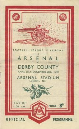 Arsenal v Derby County. Christmas Day (?) 1948 programme (3-3)