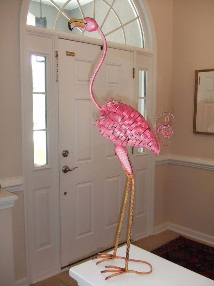 Pink Flamingo Bird Metal Garden Statue Stake Yard Art/Lawn Ornament Summer Decor