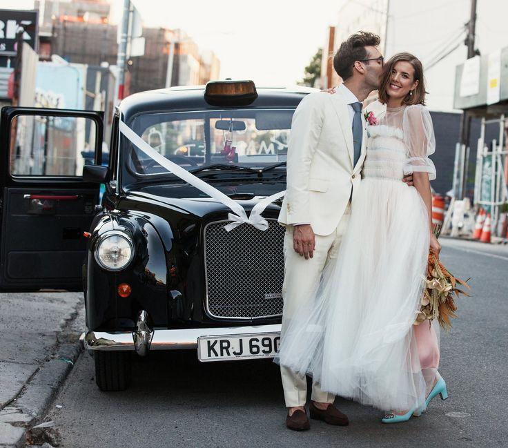 Agyness Deyn in a Molly Goddard wedding dress and Manolo Blahnik shoes, with…