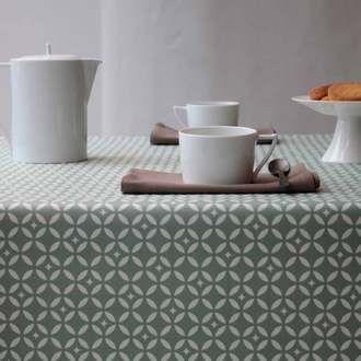 Nappe carrée losanges 100% coton enduit 160x160cm MOSAIQUE Fleur de soleil