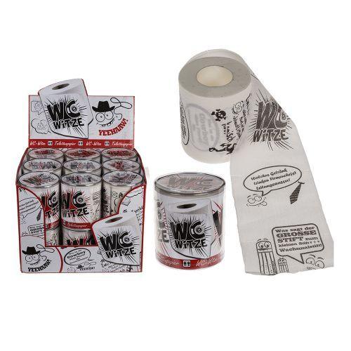 Das Bedruckte Toilettenpapier WC-Witze ist eine, im wahrsten Sinne des Wortes, witzige Geschenkidee für alle, die gern mal länger geschäftlich auf dem stillen Örtchen verbringen. Die Witze sind auf dem kompletten Papier aufgereiht und können nach und nach beim Abrollen gelesen werden. Lachen auf der Keramik!