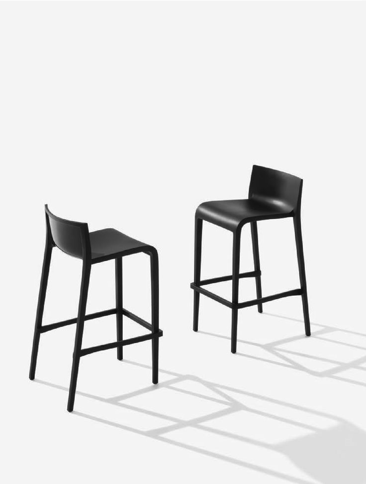 Nassau 3.0/4.0 in Black. Air-molded bar/counter stool, stacks 4 high. Designed by Marc Sadler for the Metalmobil collection.
