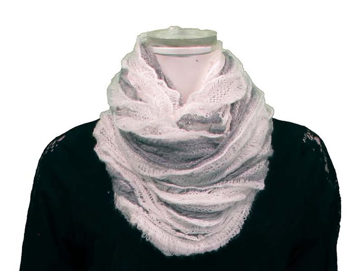 White/Grey Short This Ruffled Tube Scarf can be worn as a shorty infinity, or as a long scarf. Ruffled layers provide extra softness and lightness to the scarf, with beautiful colours to match any outfit! Available in Black, White/Grey, Pink, Coral, Red, Mint, Royal.