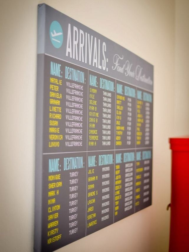 "Travel Themed Wedding Trends Reloaded: arrivals board table plan | SouthBound Bride | <a href="""" rel=""nofollow"" target=""_blank"">www.southboundbri...</a>Credit: Inecke/Secret Diary/Blank Canvas via Special Events"