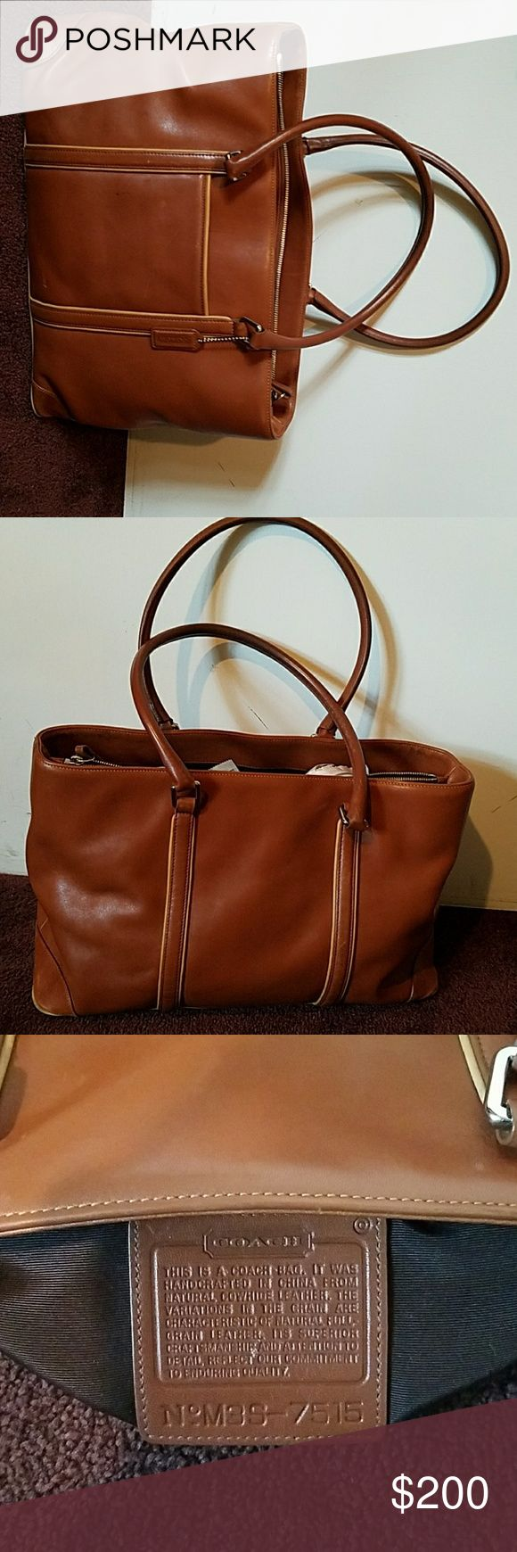 """AUTHENTIC Vintage Coach Briefcase in excellent used condition.  3 large compartments.. zippered compartment in the middle and phone compartment on the outside of the bag. Feet on the bottom.  Really nice briefcase/handbag/tote....actual color is more of a Camel with light trim..Beautiful Bag... comes with dust bag. dimensions are 16""""x6""""x10""""... Coach Bags Totes"""