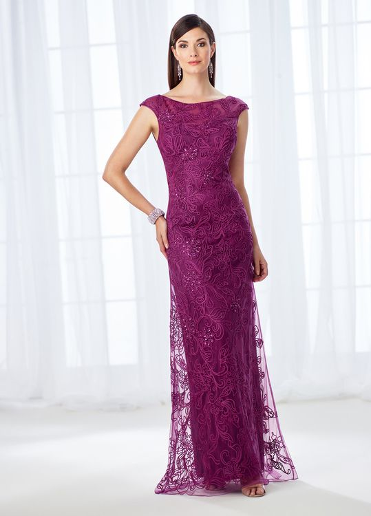 f2d4aa228a Buy the 118676 Cap Sleeve Lace and Ribbonwork Evening Gown by Mon Cheri at  CoutureCandy.com