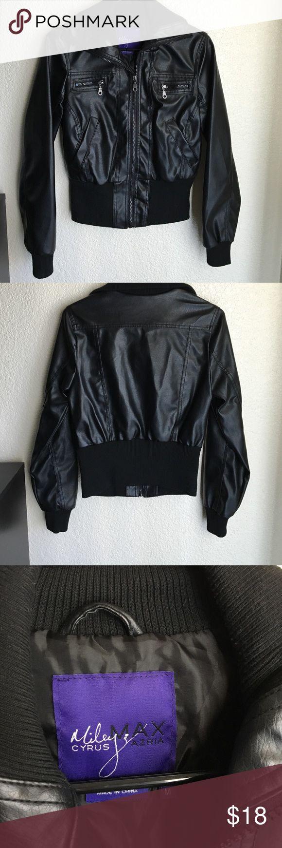 Faux Leather Miley Cyrus/Max Azria Jacket Faux Leather Miley Cyrus/Max Azria Jacket - worn once Jackets & Coats