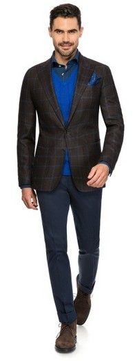 Blue over check - Made to Measure jacket by Louis Purple