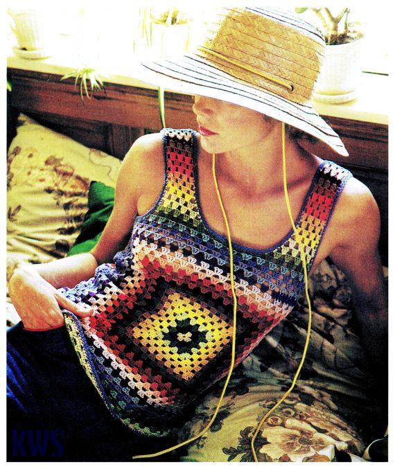 Vintage 70's Crochet GRANNY SQUARE Tank Top - PDF Pattern - Instant Download