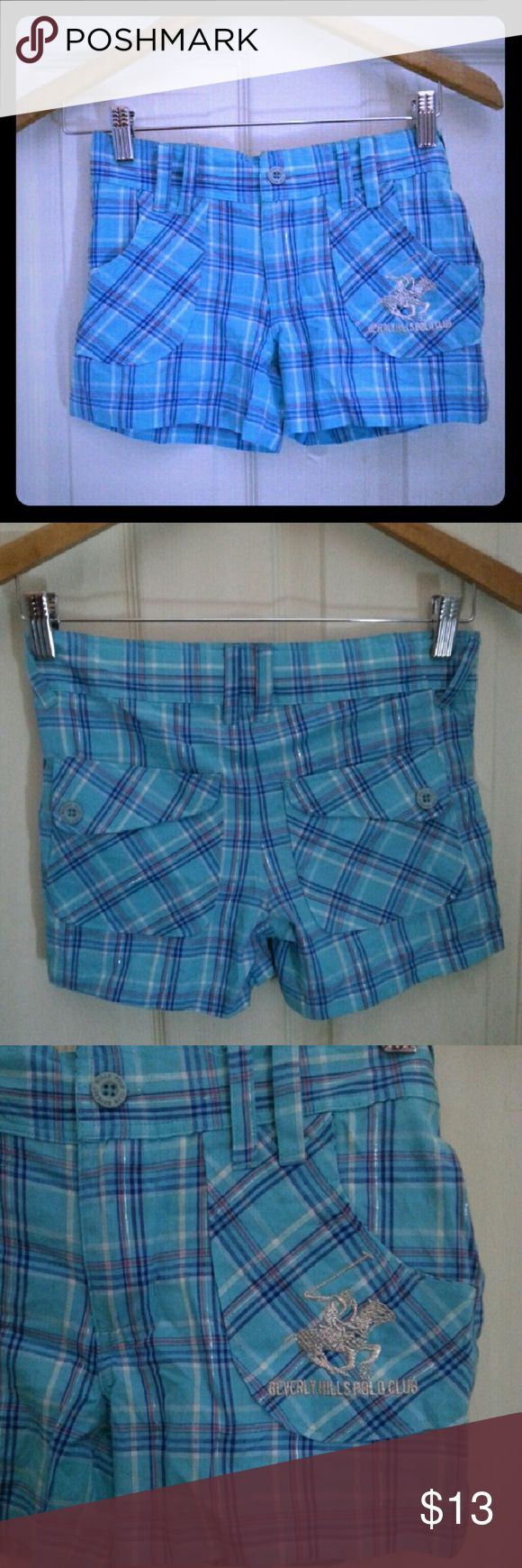 Beverly Hills Polo Club light blue plaid shorts Light blue  10/10 condition 2 pockets in the front and two in the back Price is for one pair Will negotiate the price for both 100% cotton Beverly Hills Polo Club Bottoms Shorts