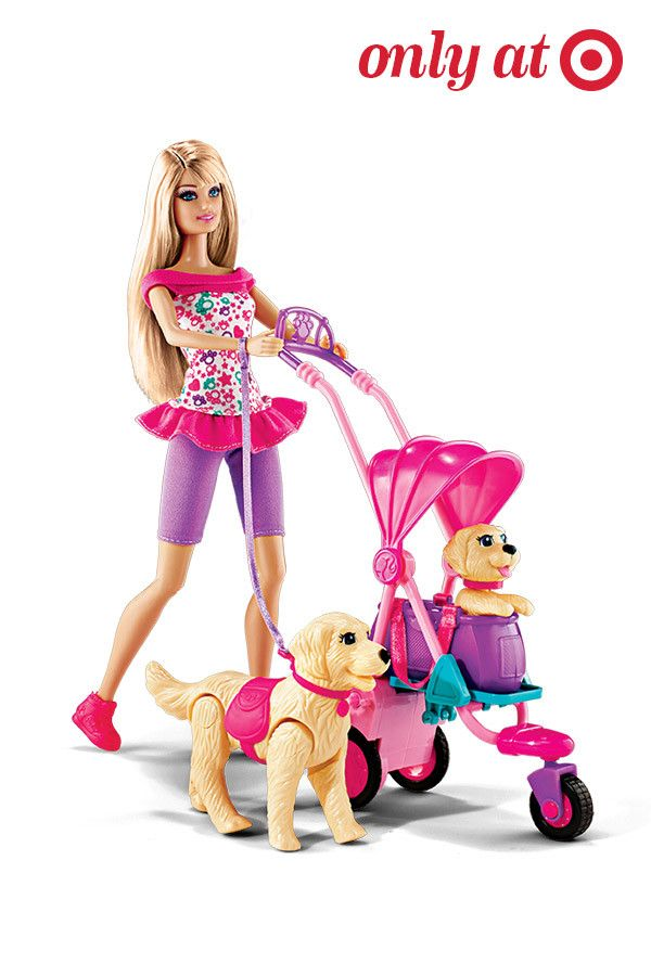 Take a stroll with Barbie and her pups with this cute little set. Her dog Taffy really walks and the pup can be pushed in a stroller where his head nods. Dog-loving girls will love this gift.