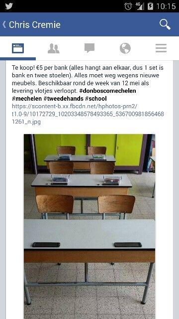 Te koop! €5 per bank (alles hangt aan elkaar, dus 1 set is bank en twee stoelen). Alles moet weg wegens nieuwe meubels. Beschikbaar rond de week van 12 mei als levering vlotjes verloopt. #donboscomechelen #mechelen #tweedehands #school https://scontent-b.xx.fbcdn.net/hphotos-prn2/t1.0-9/10172729_10203348578493365_5367009818564681261_n.jpg