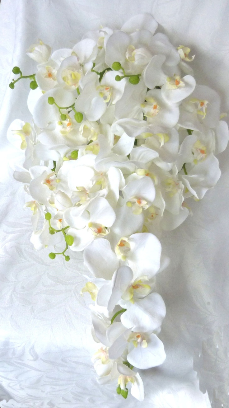 Cascade white orchid bouquet boutonniere phalaenopsis orchid bouquet tropical wedding bouquet - Flowers good luck bridal bouquet ...