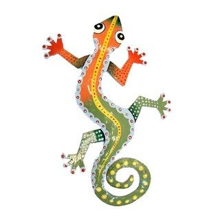 WANT WANT FOR MY KITCHEN!! @Overstock - Accent any room in your home or office with this handcrafted Haitian tin wall art, made by gifted artisans from recycled oil drums. A true conversation piece, this piece of art features a colorful design of a gecko. http://www.overstock.com/Worldstock-Fair-Trade/Recycled-Steel-Drum-Orange-Green-Gecko-Wall-Art-Haiti/6050780/product.html?CID=214117 $19.49
