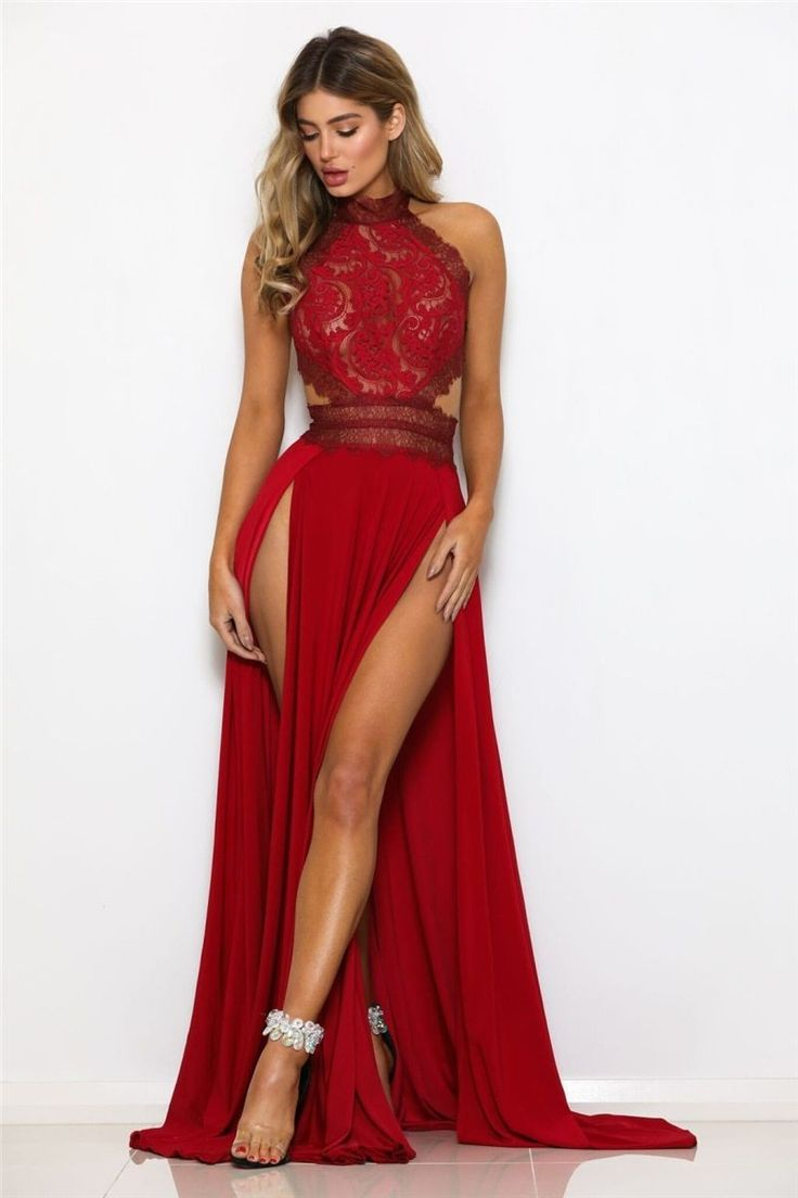 Sexy slit evening dress