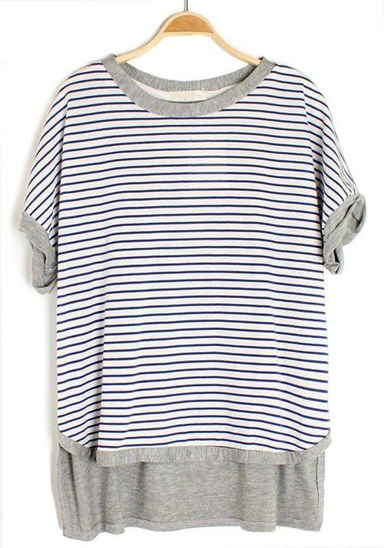 Blue Striped Patchwork Irregular Bat Sleeve Cotton T-Shirt