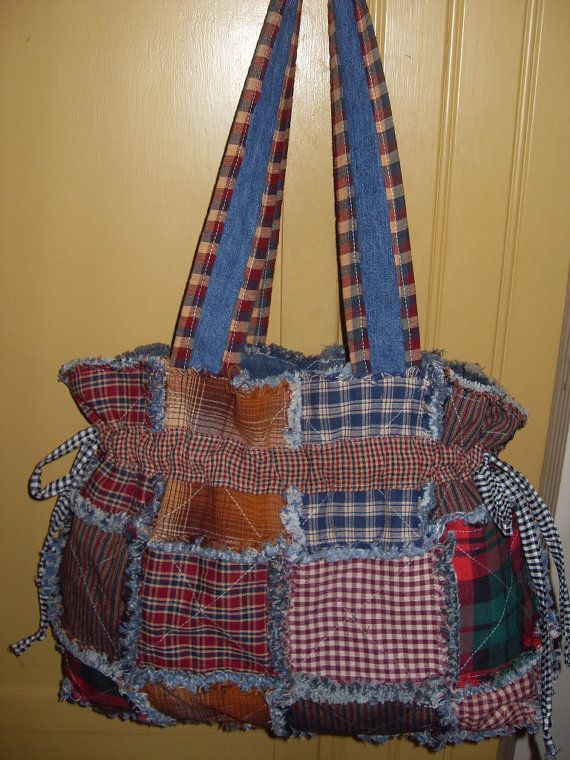 Quilted Knitting Bag Pattern : Ready to ship rag quilt purse homespun and denim hobo