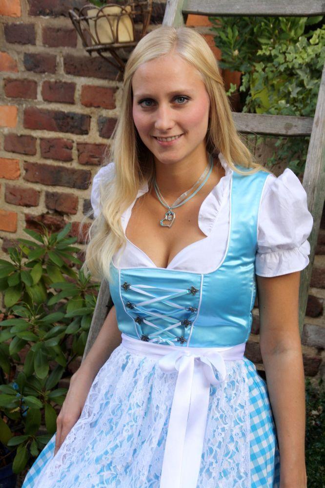 NEU Süßes Festliches Dirndl 3 tlg.-Set,Kleid,Bluse,Schürze,türkis ,36,38,40 in Kleidung & Accessoires, Damenmode, Trachtenmode | eBay