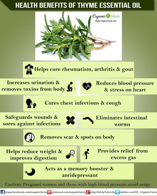Health benefits of thyme essential oil can be attributed to its properties as an antispasmodic, antiseptic, bechic, cardiac, hypertensive, tonic and vermifuge substance