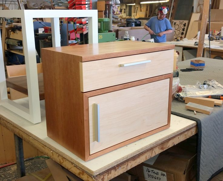 CUSTOM DEVOE End Table In Mixed Veneers, Cherry For The Body And Maple  Door/drawer. So Cute!