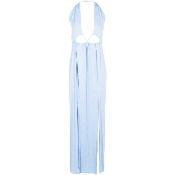 Boohoo Hallie Cut Out Halter Neck Maxi Dress   Boohoo ($12) ❤ liked on Polyvore featuring dresses, blue dress, evening maxi dresses, blue maxi dress, evening dresses and bodycon maxi dress