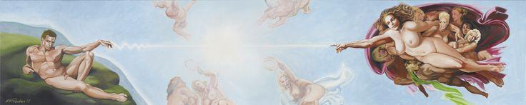 VON K.W.PAULSEN / ACRYL AUF LEINWAND / 300X70cm / € 3200 Peter Paul Rubens, Jacob Jordaens und Michelangelo, die ihre riesigen Gemälde nach biblischen Motiven mit großen Panoramen und hunderten von Mitwirkenden orchestrierten, als handle es sich um Filmepen aus Hollywood, lieferten die Vorlage für K. W. Paulsens Pantheon zeitgenössischer Gottheiten. Mit ihren schwellenden Formen erinnern viele an die Urform Gottes, die nährende Muttergöttin.Urform Gottes, die nährende Muttergöttin.