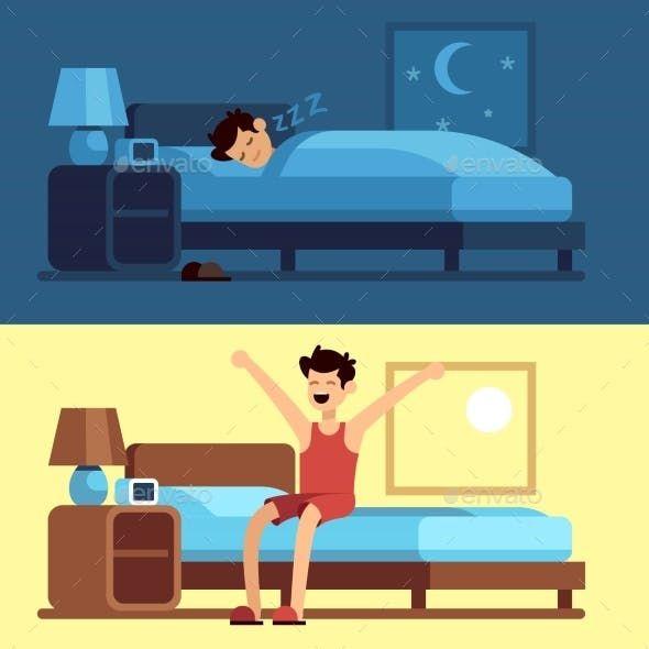 Man Sleeping And Waking Up Person Cartoon Up Animation Illustration Art Design