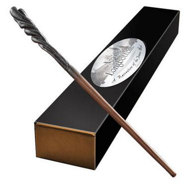 This high quality, hand-painted wand replica is an authentic recreation of Neville Longbottom's wand from the films.  Neville's wand is brown and slender with a dark spiral handle.  With detailed sculpture and design, this wand is a perfect addition for both seasoned collectors as well as newer fans. Made of resin, this wand measures approximately 14 inches long and comes with a sleek collector box with name clip.Please Note: while this wand is fun to hold, it's a true collectible and not a…
