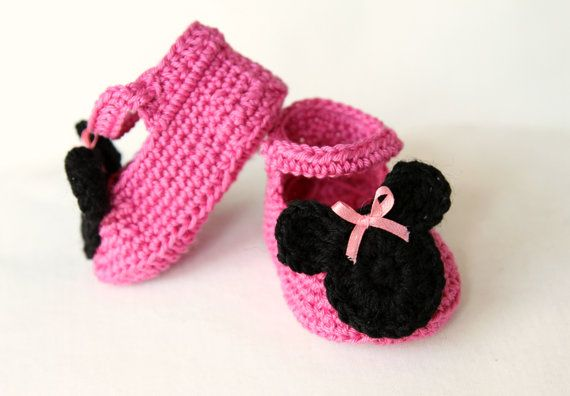 Instant download - Baby Girl Slippers Booties Crochet with Minnie PATTERN 0-3 months in PDF