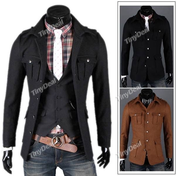 Stylish Long Sleeves Lapel Single Breasted Coat Jacket Outerwear Overcoat with Four Outer Pockets for Man NMJ-104763