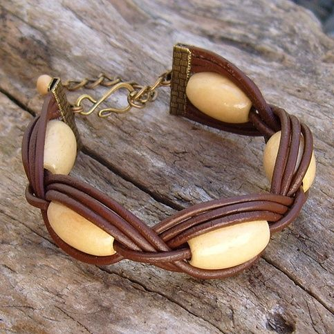 Leather, wooden beads (large holes), ribbon clamps