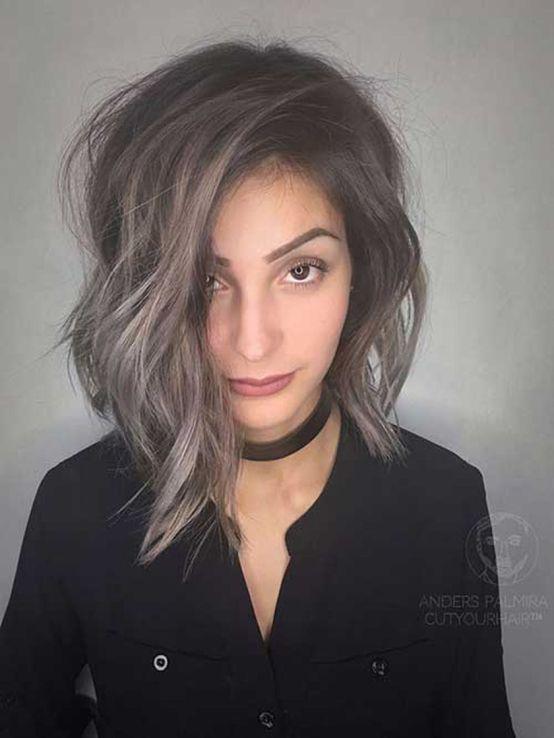 Short asymmetrical bobs hairstyle haircut 34