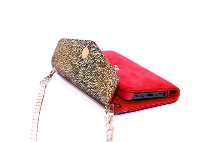 Crossbody Wallet Case – Mustard Stingray Print & Red Suede