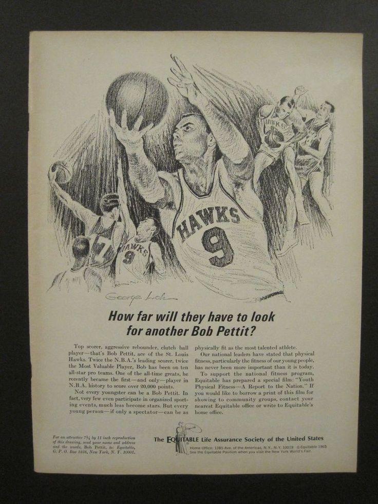 VINTAGE 1965 NBA ST. LOUIS HAWKS BOB PETTIT EQUITABLE LIFE MAGAZINE AD!!!!!!!!!!