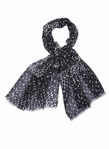"MARIMEKKO KEVATSADE SCARF BLACK, WHITE  This pattern is called ""Spring Rain,"" and evokes #aprilshowers  #spring #raindrops #rain #seattle #pirkkoseattle #pirkkofinland #marimekko #black #white #blackandwhite #sprinkles #abstract #dots #polkadots #circles"