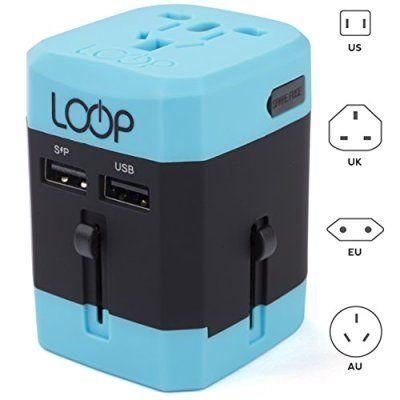 LOOP World Adapter Plug, BEST Worldwide Travel Charger [US UK EU AU CN] w/ Dual USB Charging Ports & Universal AC Socket - Safety Fused (Blue)