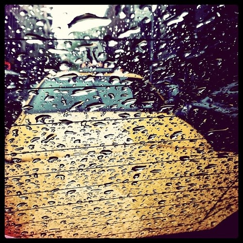 Rain | Finding shelter in a taxi, by Mary Elise Chavez.