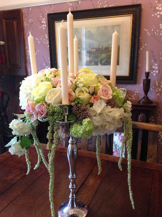 Artificiales de la boda flores candelabros por SarasBudsandBlossoms