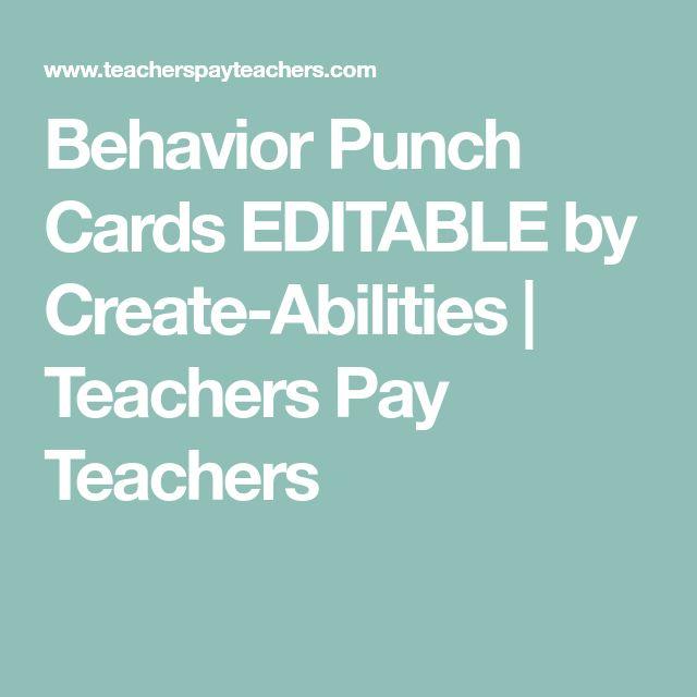 Behavior Punch Cards EDITABLE by Create-Abilities | Teachers Pay Teachers