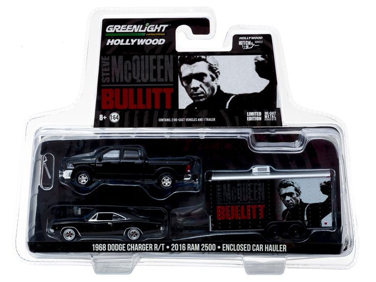2016 Dodge Ram 2500 and 1968 Dodge Charger R/T Bullitt (1968 ) in Enclosed Car Hauler 1/64 Diecast Model Cars by Greenlight - Brand new 1:64 scale car models of 2016 Dodge Ram 2500 and 1968 Dodge Charger R/T Bullitt (1968 ) in Enclosed Car Hauler die cast car models by Greenlight. Limited Edition. Detailed Interior, Exterior. Metal Body. Comes in a blister pack. Officially Licensed Product. Dimensions Approximately L-7 Inches Long.-Weight: 2. Height: 8. Width: 15. Box Weight: 2. Box Width…