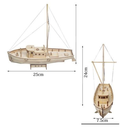 Ship Assembly Model DIY Kits Wooden Sailing Boat 1:50 Scale