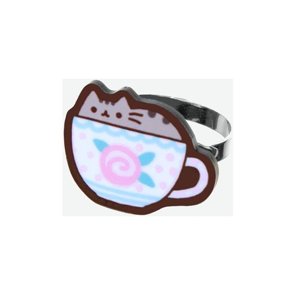 Teacup Pusheen ring ($5) ❤ liked on Polyvore featuring jewelry and rings